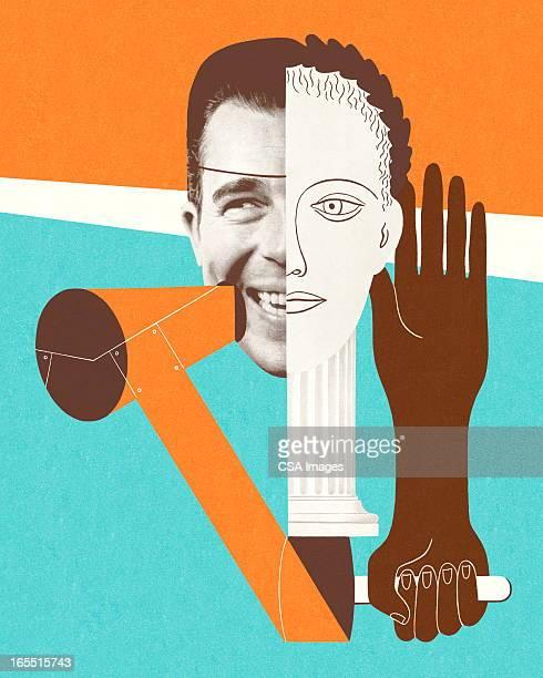ilustraciones, imágenes clip art, dibujos animados e iconos de stock de collage de rostros y de las manos - un solo hombre