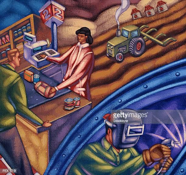 ilustraciones, imágenes clip art, dibujos animados e iconos de stock de collage of farming, industry and retail sales scenes - soldar