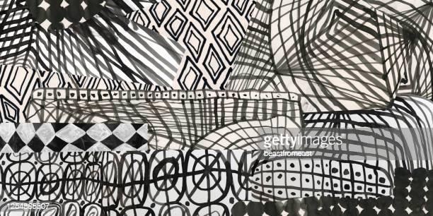 collage of graphic patterns - mixed media stock illustrations