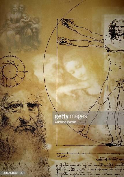 ilustraciones, imágenes clip art, dibujos animados e iconos de stock de collage of leonardo da vinci works (digital composite) - leonardo da vinci