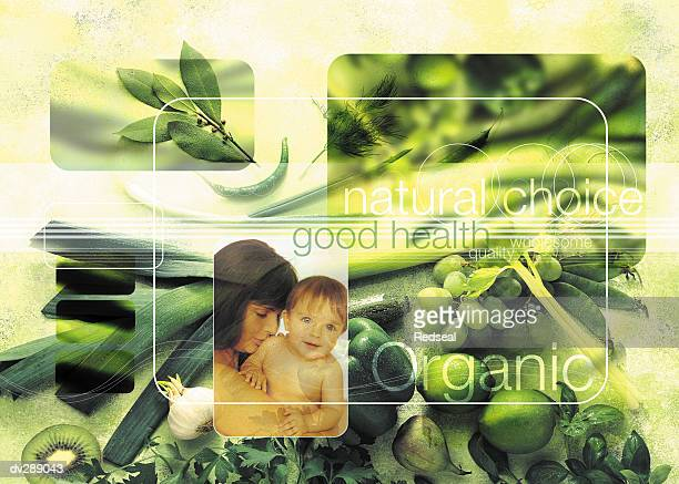 illustrations, cliparts, dessins animés et icônes de collage of organic vegetables with mother and child - famille avec un enfant