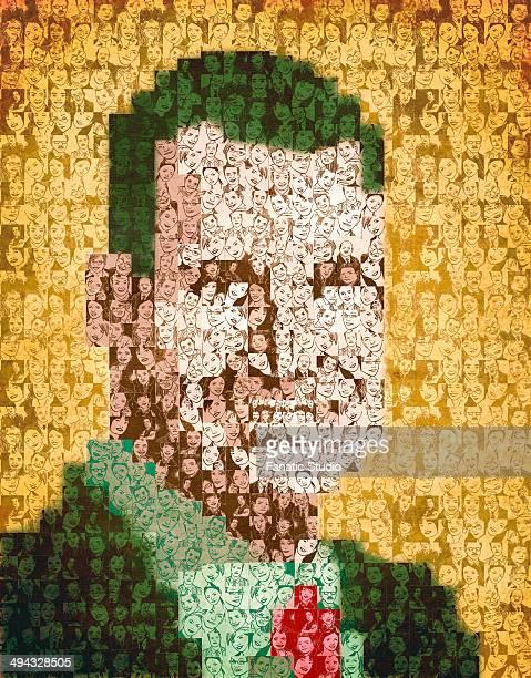 ilustraciones, imágenes clip art, dibujos animados e iconos de stock de collage of people forming a human face - patchwork