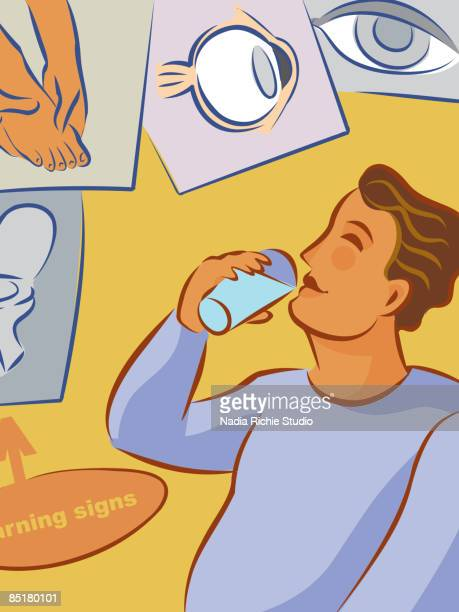 ilustraciones, imágenes clip art, dibujos animados e iconos de stock de collage of the warning signs of diabetes showing an overweight man drinking water, frequent urination, foot nerve pain, and eye cataract - pie diabetico