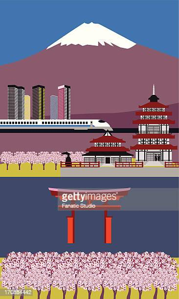 collage of tourist attractions in japan - mt. fuji stock illustrations, clip art, cartoons, & icons