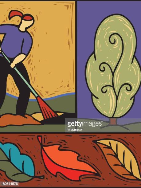 collage of woman raking leaves in the fall - number of people stock illustrations, clip art, cartoons, & icons