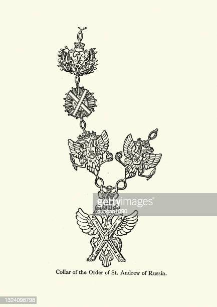 collar of the order of st andrew of russia - historical clothing stock illustrations