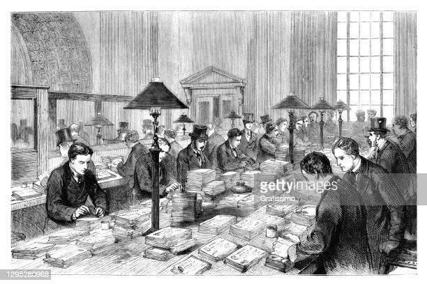 イングランド銀行で働く首輪労働者 1872年 - セントラル・ロンドン点のイラスト素材/クリップアート素材/マンガ素材/アイコン素材