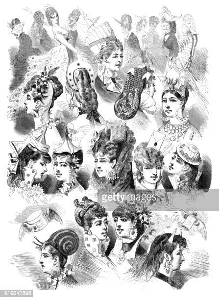 a collection of beautiful hairstyles for women - 1877 stock illustrations, clip art, cartoons, & icons