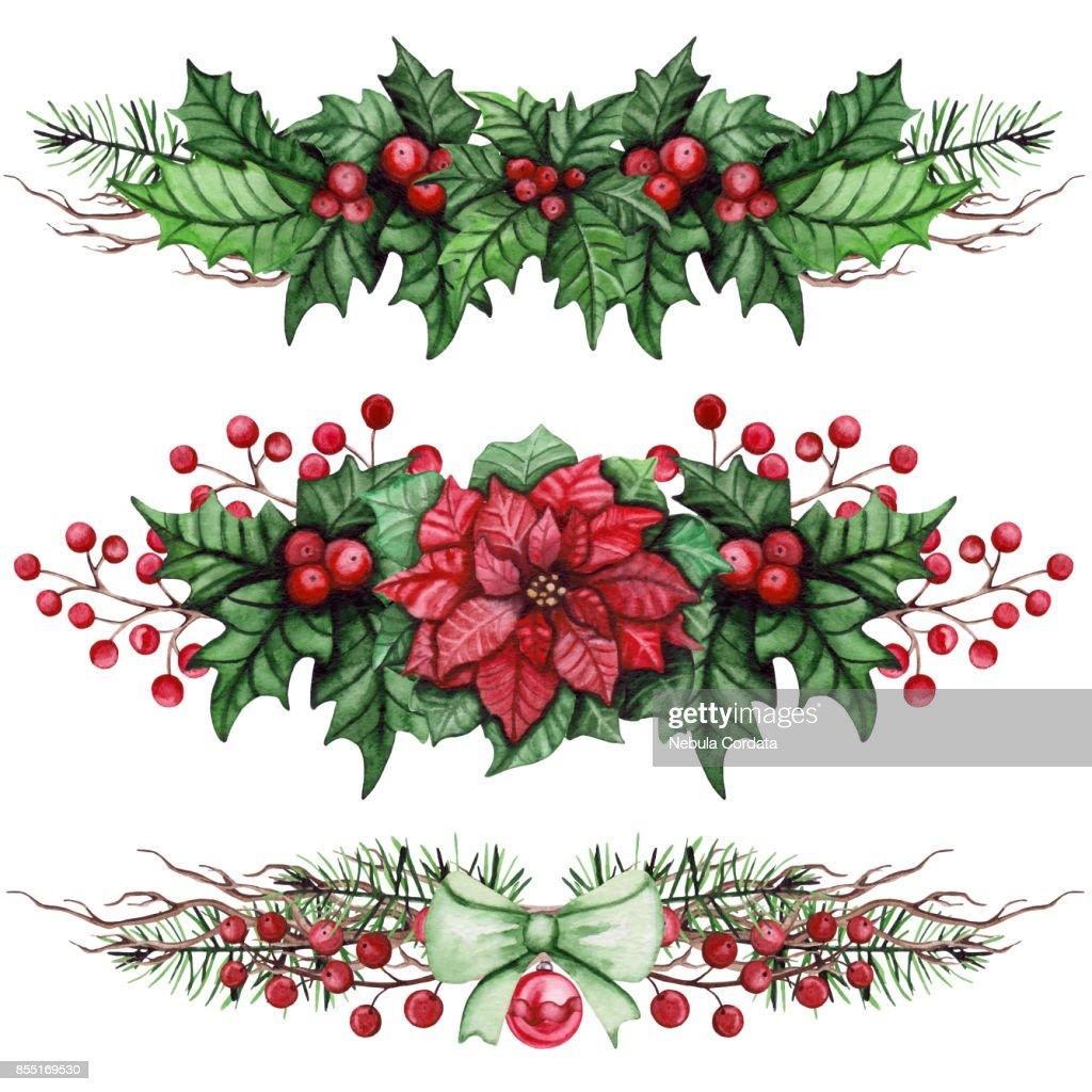 Sammlung Von Weihnachten Blumensträuße Mit Weihnachtsstern Und Holly ...