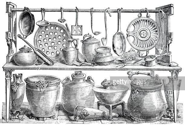 collection of kitchenware from ancient pompeii - archival stock illustrations, clip art, cartoons, & icons