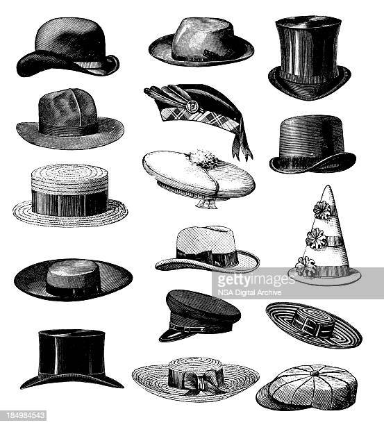 collection of old-fashion vintage male classic hats all types - hat stock illustrations