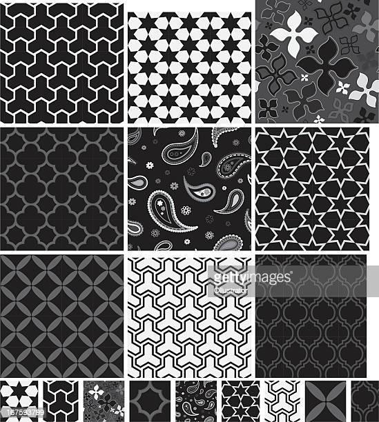コレクションのシームレスなブラックの&ホワイトのパターン - ペーズリー点のイラスト素材/クリップアート素材/マンガ素材/アイコン素材