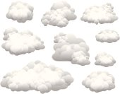 Collection of vector clouds on white background