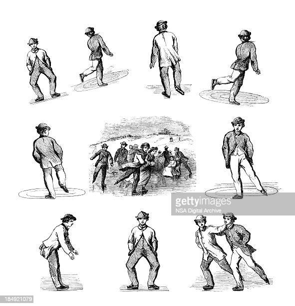 Collection of Vintage Winter Ice Skating Sport Illustrations with Kids