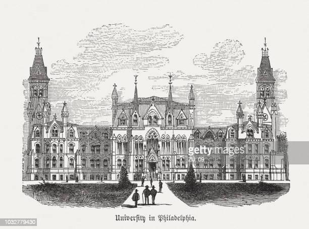 大学ホール (ペンシルバニア大学)、フィラデルフィア、アメリカ合衆国、木版画、公開 1876 - ペンシルベニア大学点のイラスト素材/クリップアート素材/マンガ素材/アイコン素材