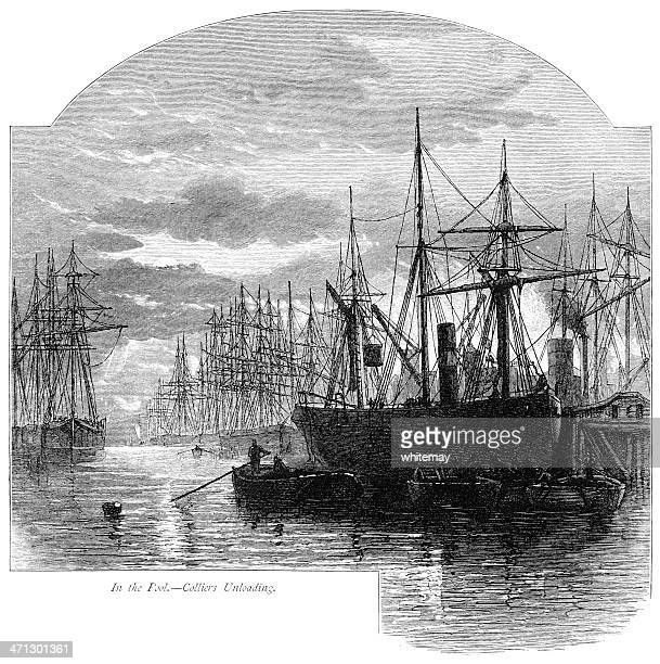 Collier ships unloading in the Pool of London (River Thames)