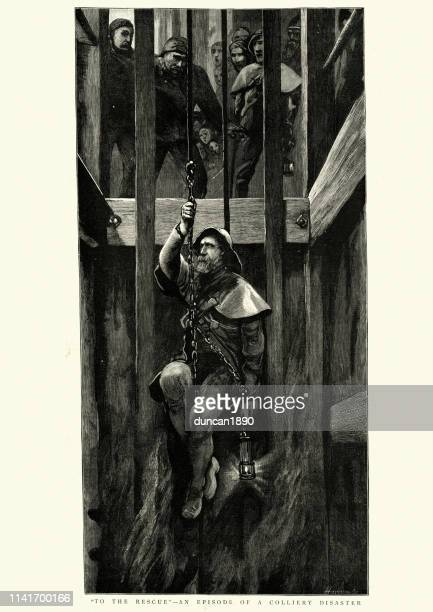 colliery disaster, miner lowered down the shaft to rescue victims - mining accident stock illustrations