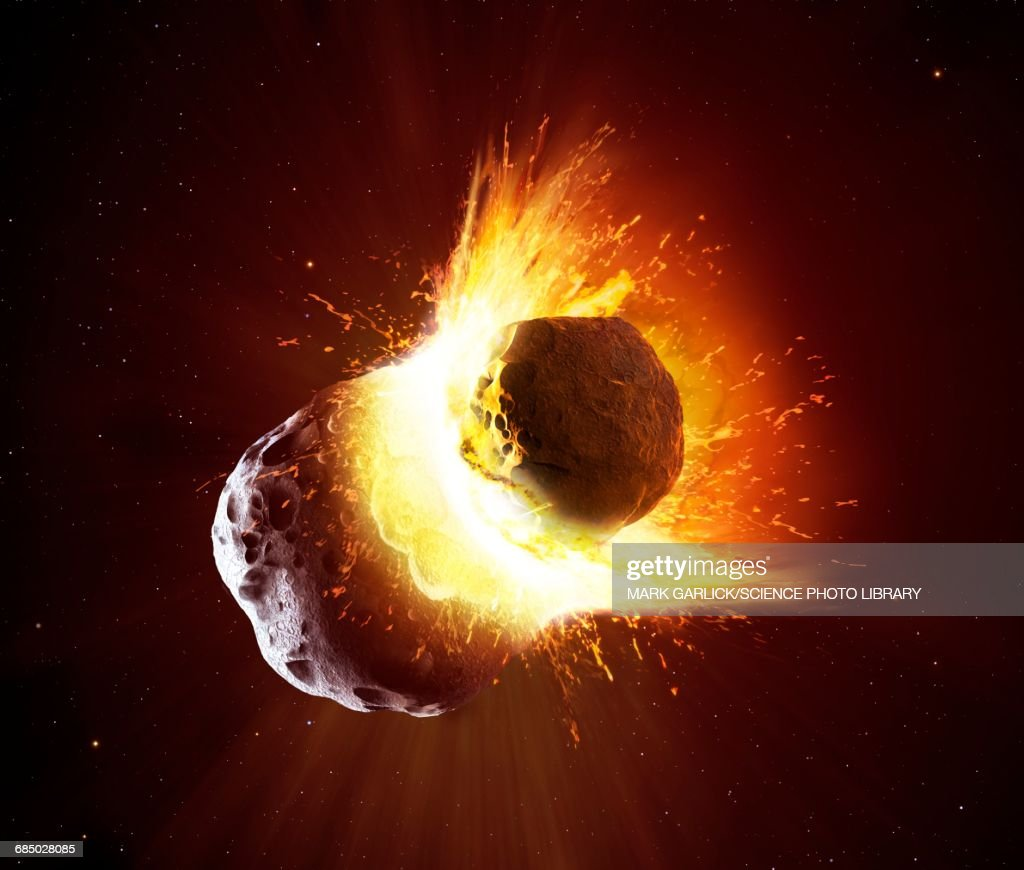 Collision between two asteroids : stock illustration