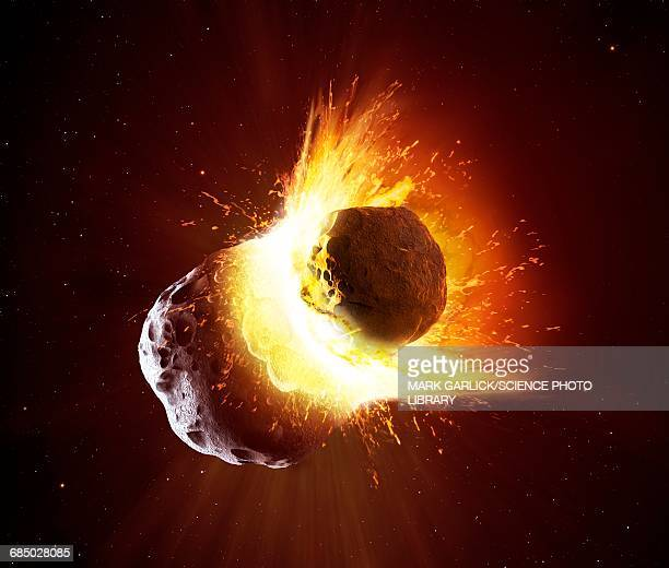 collision between two asteroids - vulkan stock-grafiken, -clipart, -cartoons und -symbole