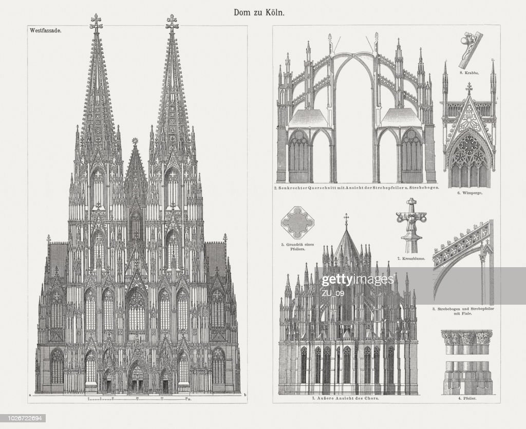 Cologne Cathedral, North Rhine-Westphalia, Germany, wood engravings, published in 1897 : stock illustration