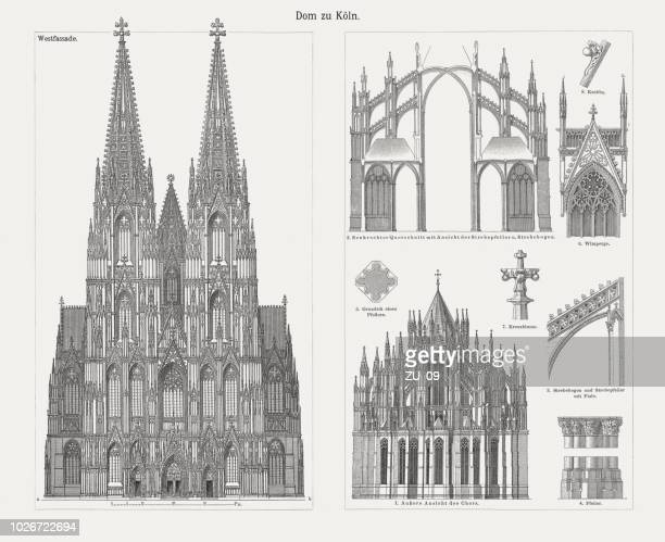 Cologne Cathedral, North Rhine-Westphalia, Germany, wood engravings, published in 1897