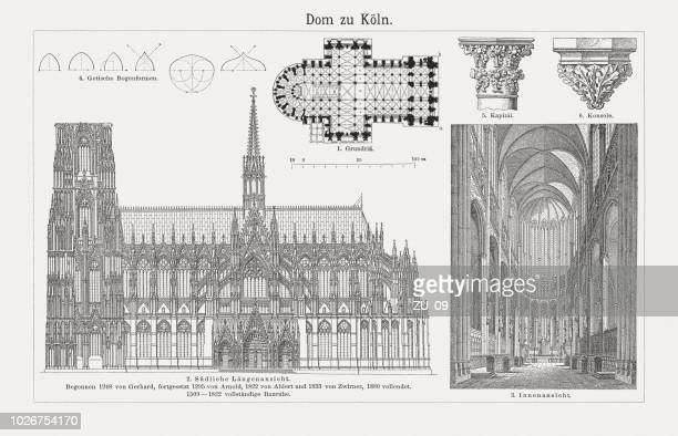 cologne cathedral, north rhine-westphalia, germany, wood engravings, published in 1897 - crag stock illustrations, clip art, cartoons, & icons