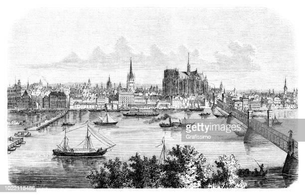 Cologne city in Germany with river Rhine and unfinished Cathedral 1876