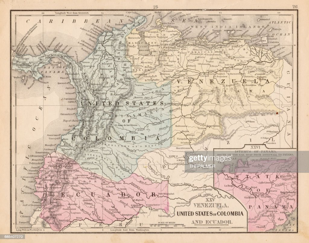 Colombia Ecuador Venezuela map 1867 : stock illustration