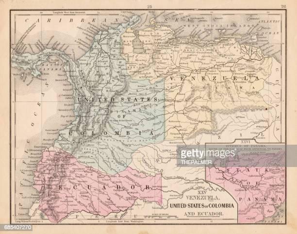 Colombia Ecuador Venezuela map 1867