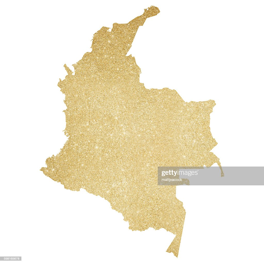 Colombia gold glitter map : stock illustration