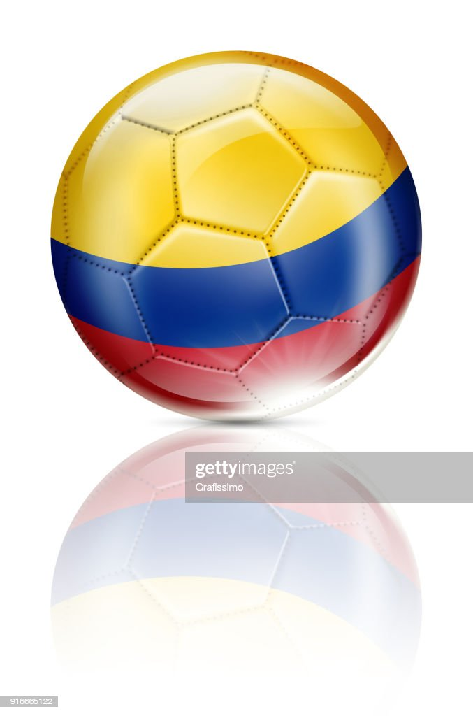 Colombia soccer ball with colombian flag isolated on white : stock illustration