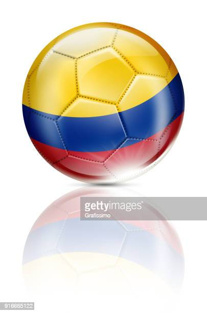 Colombia soccer ball with colombian flag isolated on white