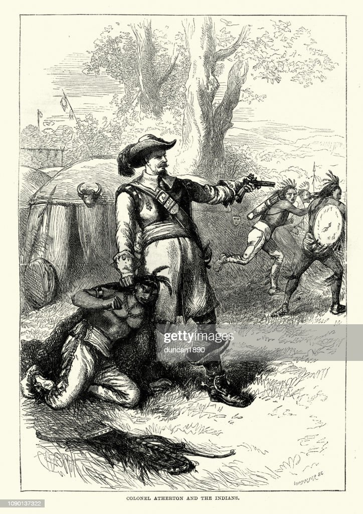 Colonel Atherton and the Indians : stock illustration