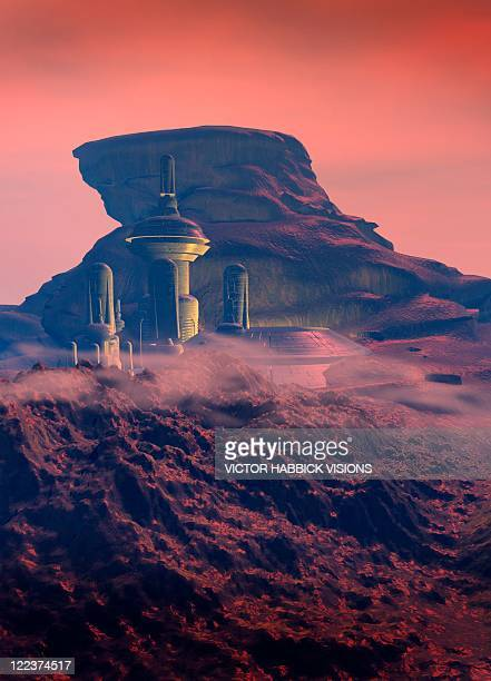 colonised mars, artwork - human settlement stock illustrations