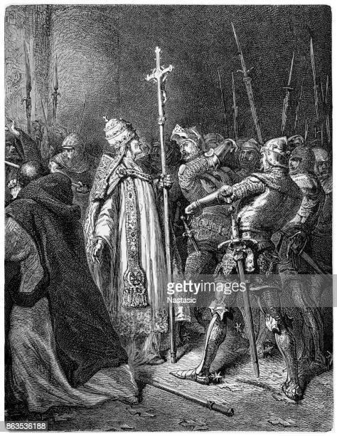 colonna striking pope boniface viii - slapping stock illustrations, clip art, cartoons, & icons