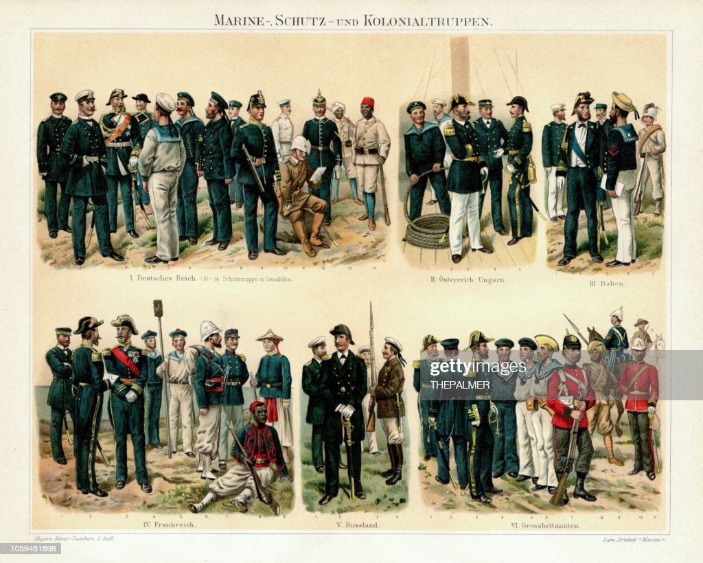 Colonnial marine troops Chromolithograph 1895 : stock illustration