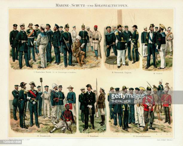 colonnial marine troops chromolithograph 1895 - marines military stock illustrations, clip art, cartoons, & icons