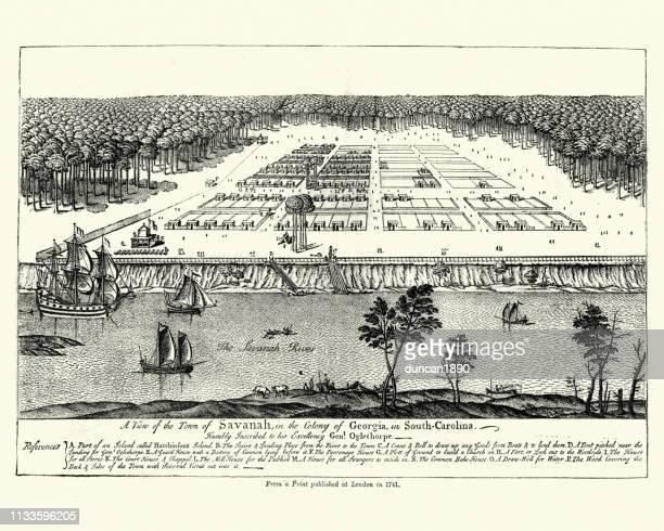 colony of savannah, georgia, south carolina, 18th century - savannah georgia stock illustrations, clip art, cartoons, & icons