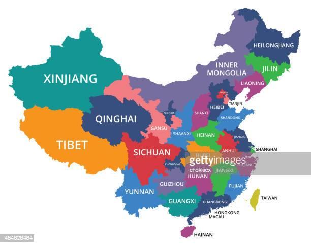 ilustrações, clipart, desenhos animados e ícones de china-map_v1 - província de guangdong