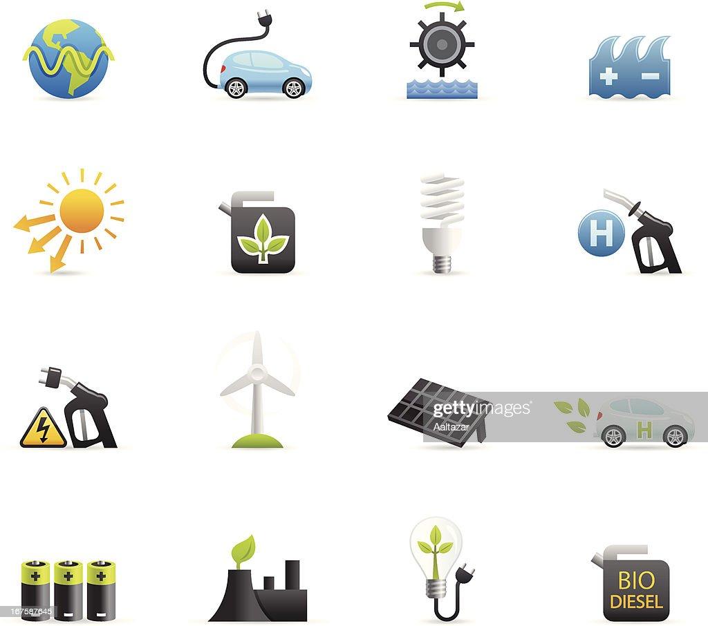 Farbe Icon-Alternative Energien : Stock-Illustration