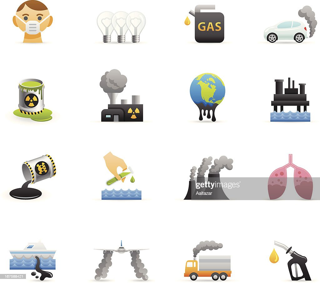 Color Icons - Pollution : stock illustration