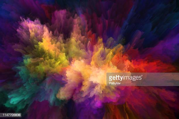 color in motion, metaphor on the subject of design, creativity and imagination - colors stock illustrations