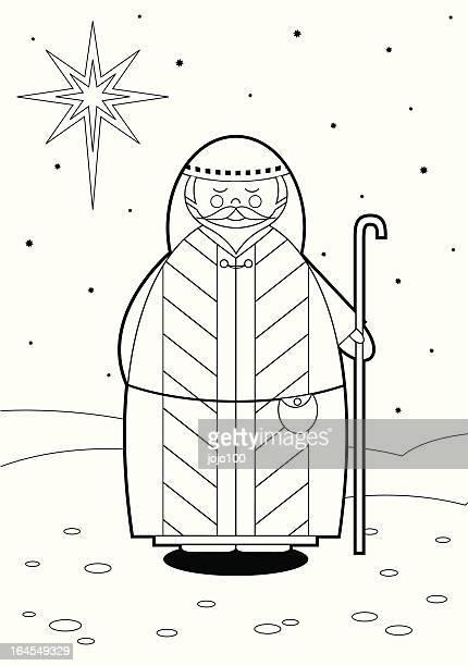 Color In Nativity Shepherd
