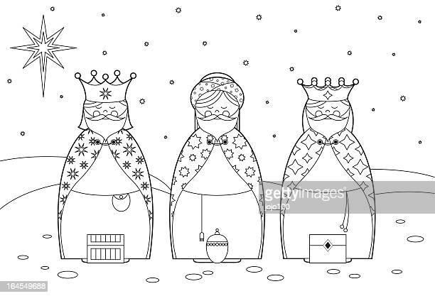 ilustraciones, imágenes clip art, dibujos animados e iconos de stock de color en los tres reyes magos - los tres reyes magos