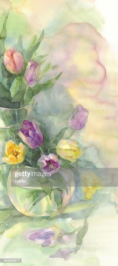 Farbe Tulpen In Vase Aquarell Stock Illustration Getty Images