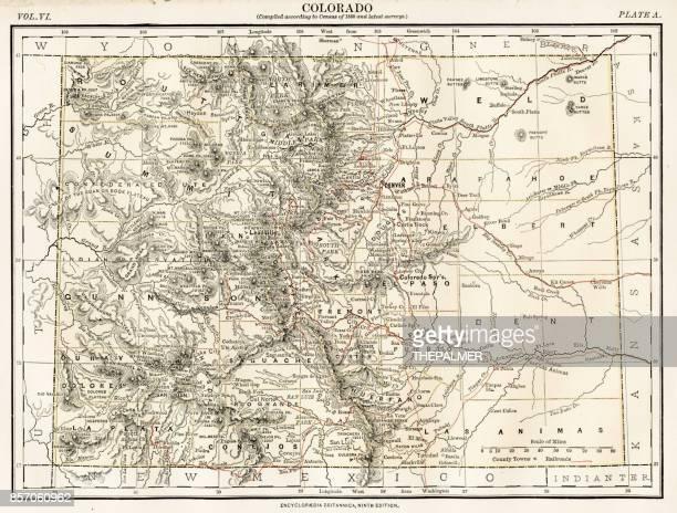 colorado map 1884 - colorido stock illustrations