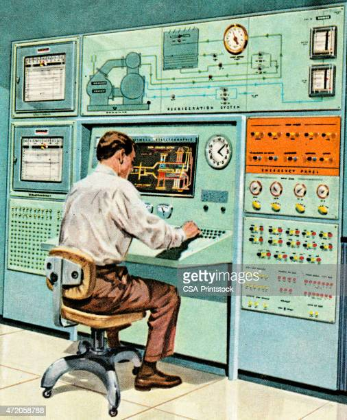 Colored art of a man seated at an old fashioned computer
