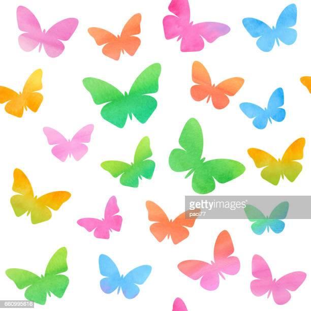 ilustrações, clipart, desenhos animados e ícones de colored butterflies in watercolor - borboleta