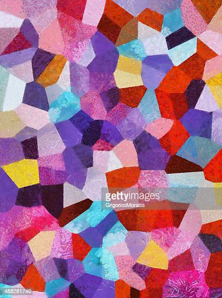 Colorful Abstract Oil on Canvas Painting