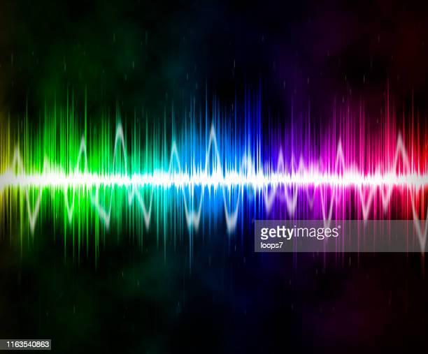 stockillustraties, clipart, cartoons en iconen met kleurrijke abstracte wave geluid digitale design - oscilloscoop